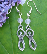 rose quartz fertility symbol goddess earrings